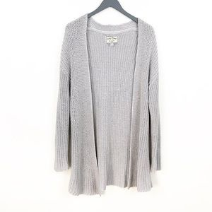 LUCKY BRAND Silver Chunk Knit Open Cardigan Large